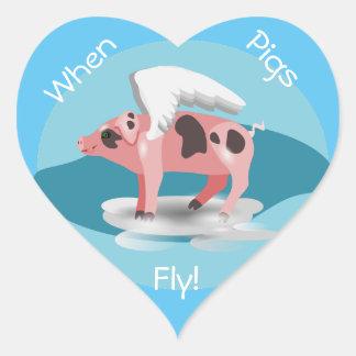 Flying Pig Heart Sticker