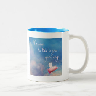 flying pig-It's never too late to grow your wings Two-Tone Coffee Mug