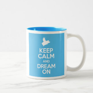 Flying Pig-Keep Calm and Dream On Two-Tone Coffee Mug