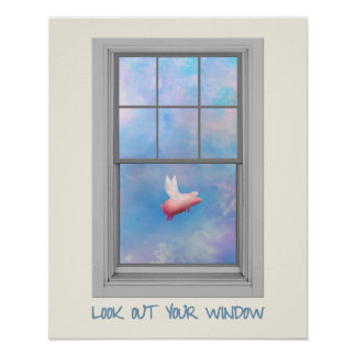 Flying Pig-Look Out Your Window Poster