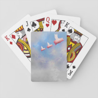 Flying pig mother with her piglets poker deck