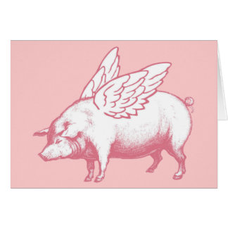 Flying Pig Note Card - Blank