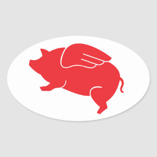 flying pig  🐷 oval sticker