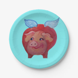flying pig paper plate