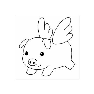 Flying Pig, Piglet with Wings Rubber Stamp