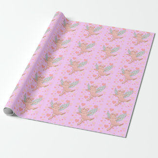 Flying Pig & Pink Hearts Wrapping Paper
