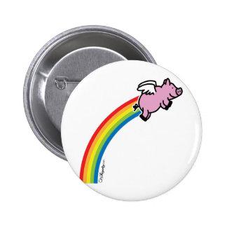 Flying Pig Rainbow 2 Inch Round Button