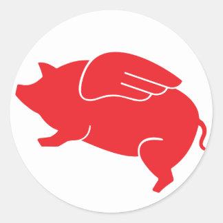 flying pig  🐷 round sticker