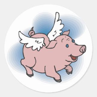 Flying Pig Round Sticker