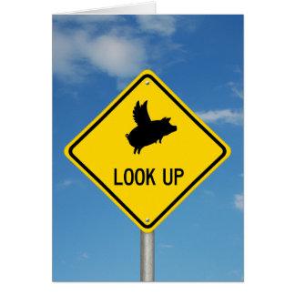 Flying Pig Sign Card