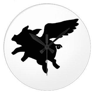 Flying Pig Silhouette Clocks
