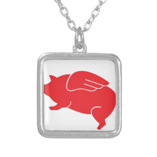 flying pig  🐷 silver plated necklace