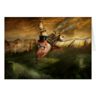 Flying Pig - Steampunk - The flying swine Card