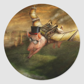 Flying Pig - Steampunk - The flying swine Classic Round Sticker