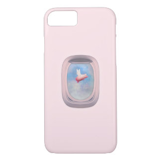 Flying Pig Through Airplane Window iPhone 8/7 Case