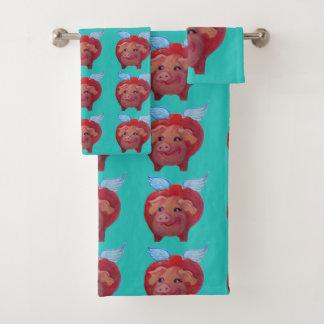 flying pig towel set