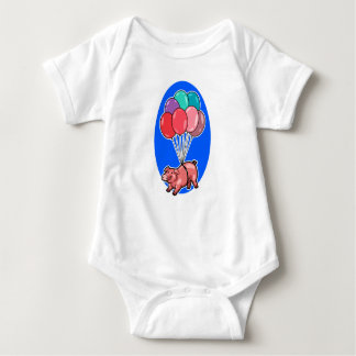flying pig with colorful balloons cartoon baby bodysuit