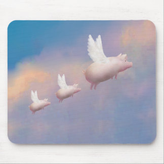 flying pig with flying piglets mouse pad