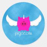 Flying Pigacorn Round Sticker