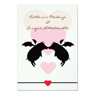 "Flying piggies 3.5"" x 5"" invitation card"
