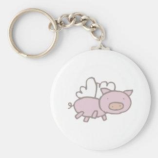 Flying Piggy Basic Round Button Keychain