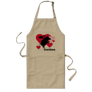 Flying piggy with coffee long apron