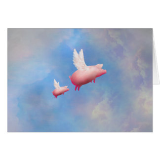 Flying piglet with her mom card