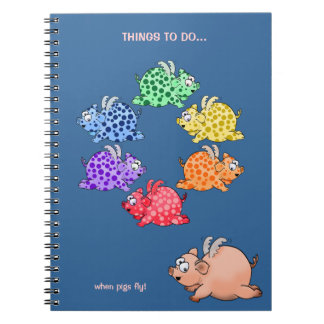 Flying pigs color wheel notebook. notebook