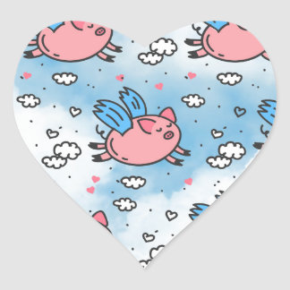 flying pigs heart sticker