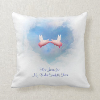Flying Pigs In Love Customizable Pillow