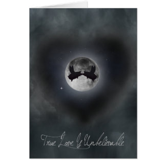 Flying pigs kissing against the full moon card
