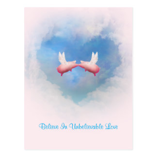Flying Pigs Kissing-Believe In Unbelievable Love Postcard