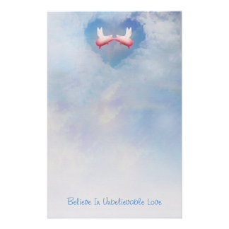 Flying Pigs Kissing-Believe In Unbelievable Love Stationery Paper