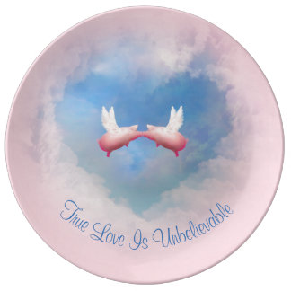 Flying Pigs Kissing-True Love Is Unbelievable Plate