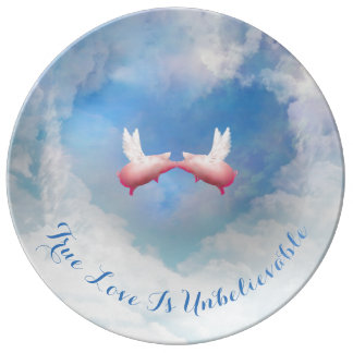 Flying Pigs Kissing-True Love Is Unbelievable Porcelain Plates
