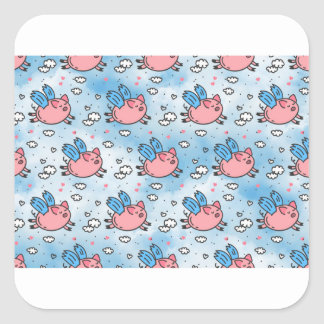 flying pigs square sticker
