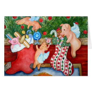 Flying Pigs Stuff Stockings Card