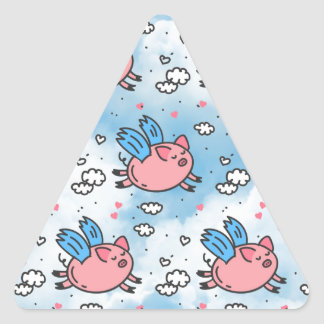 flying pigs triangle sticker