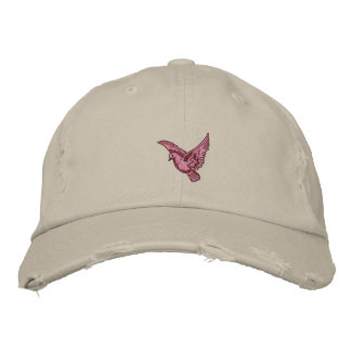 Flying pink bird womens embroidered distressed hat embroidered baseball cap