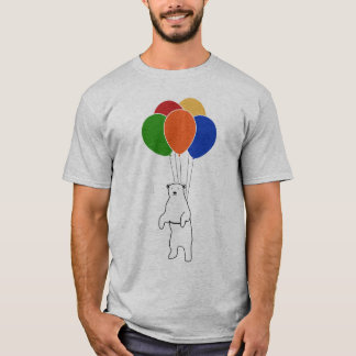 Flying Polar Bear with Birthday Balloons T-Shirt