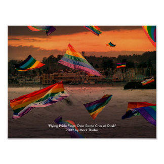 """Flying Pride Flags Over Santa Cruz at Dusk"" Poster"