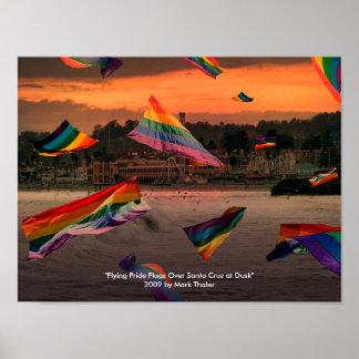 """Flying Pride Flags Over Santa Cruz at Dusk"" Poster"