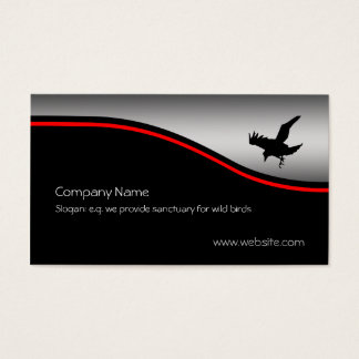 Flying Raven Bird, red swoosh, metallic-effect Business Card