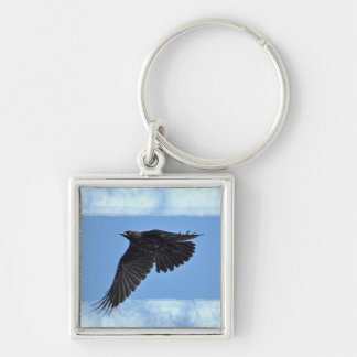 Flying Raven Modern Art in Blue Keychain