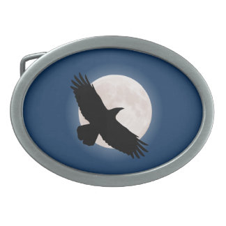 Flying raven with the moon behind it belt buckles