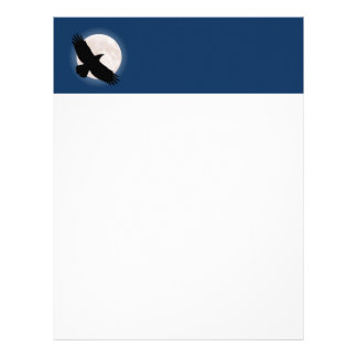 Flying raven with the moon behind it letterhead