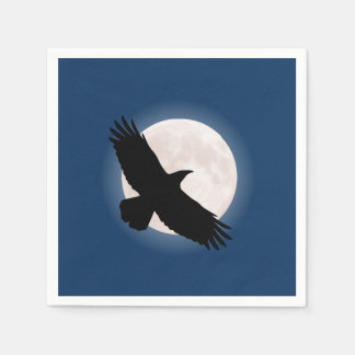 Flying raven with the moon behind it paper napkins