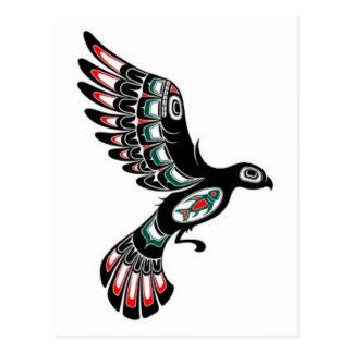 Flying Red and Black Haida Spirit Bird, white Postcard