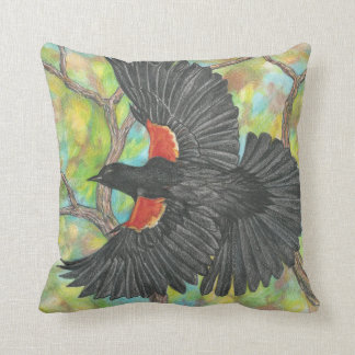 Flying Redwing Blackbird Throw Pillow