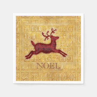 Flying Reindeer Personalized Paper Napkins